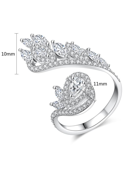 BLING SU Copper With Platinum Plated Exaggerated Flower Cubic Zirconia Statement Rings 4