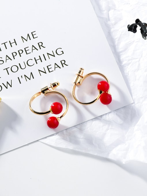 B Red Pearl (Section A) Alloy With Gold Plated Fashion Geometric  Imitation Pearl Stud Earrings