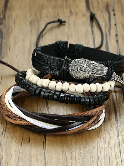 CONG Stainless Steel With PU weaving  Bracelets 2