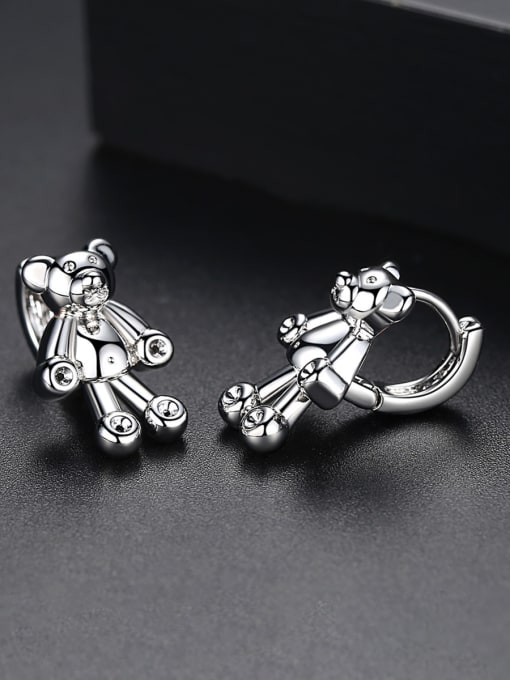 BLING SU Copper With 18k Gold Plated cute Animal bear Stud Earrings 2
