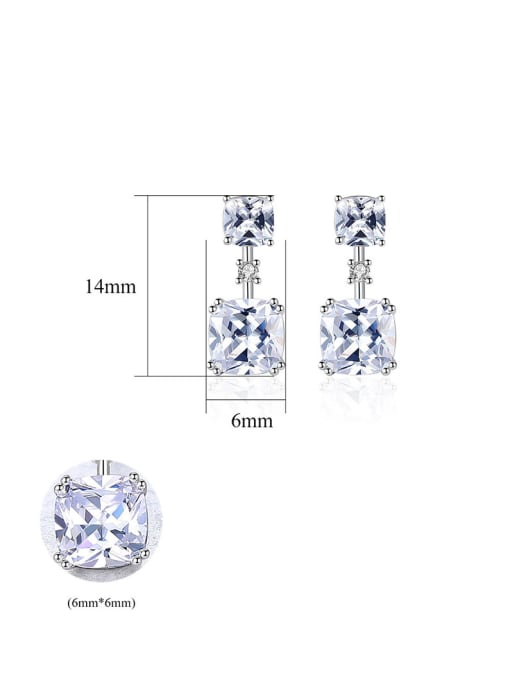 CCUI 925 Sterling Silver With Cubic Zirconia Delicate Square Stud Earrings 4