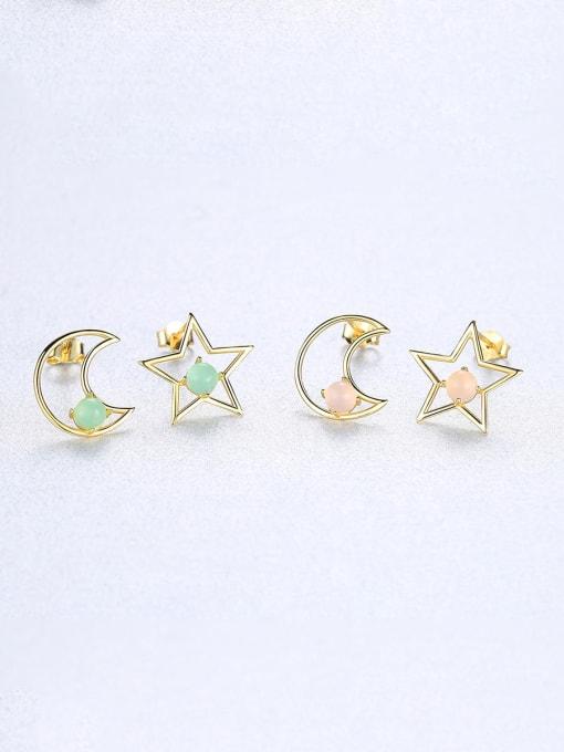 CCUI 925 Sterling Silver With multicolor Opal Cute Stars moon asymmetry Stud Earrings 3