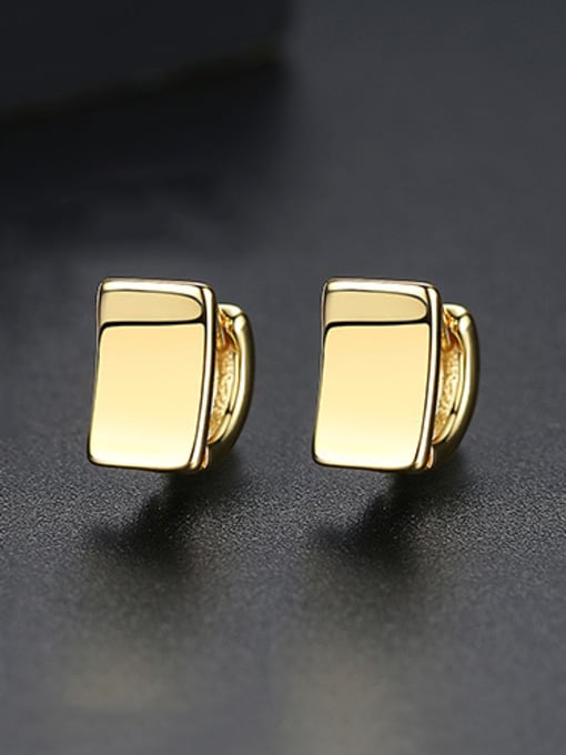 Gold Copper With Gold Plated Simplistic Geometric Stud Earrings