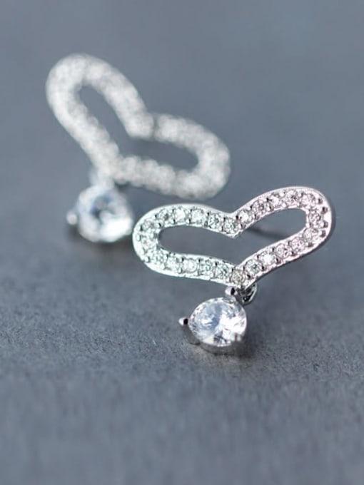 Rosh 925 Sterling Silver Rhinestone Holoow Heart Dainty Stud Earring 1