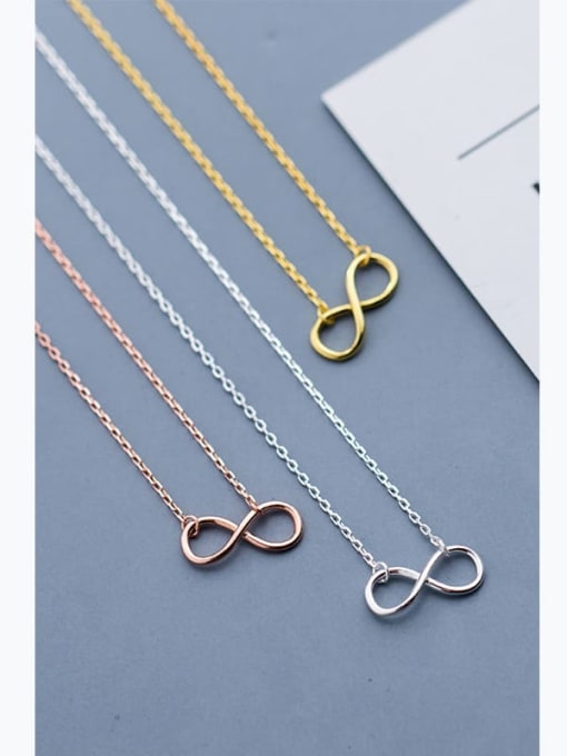 Rosh 925 Sterling Silver Minimalist  Number 8 Pendant  Necklace 0