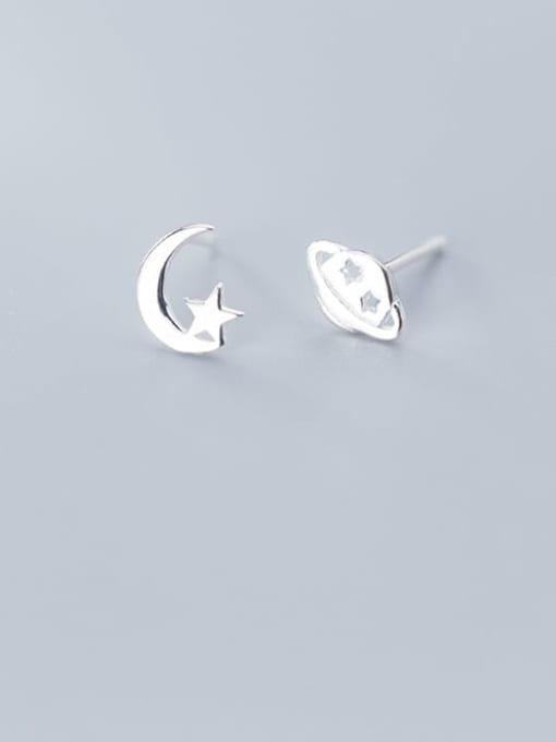 Rosh 925 Sterling Silver Asymmetry  Star Minimalist Stud Earring 1