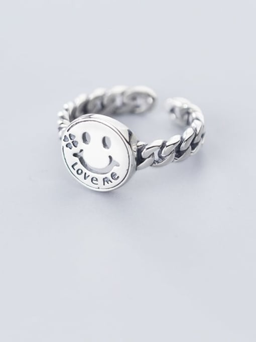 Rosh 925 Sterling Silver  Minimalist Smiley Chain  Free Size Ring
