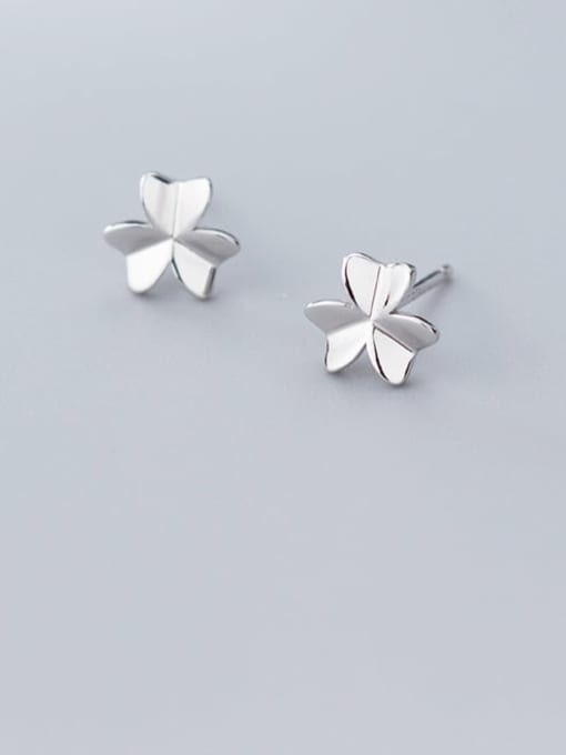 Rosh 925 Sterling Silver Smooth Flower Minimalist Stud Earring 0