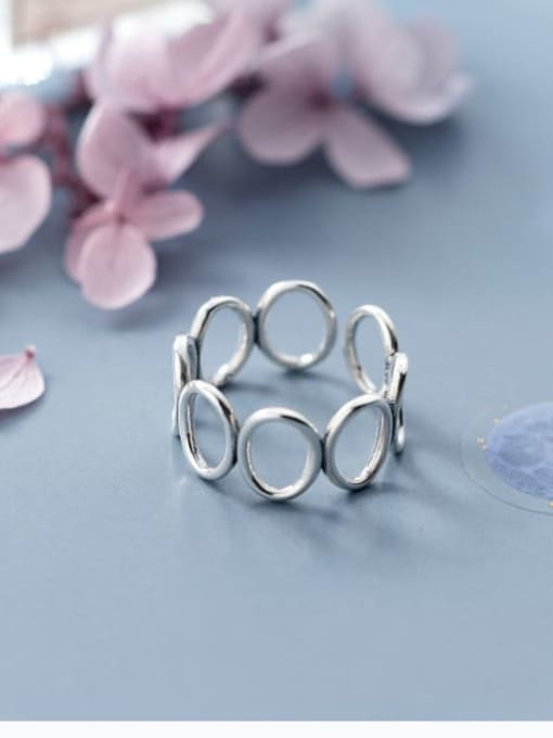 Rosh 925 Sterling Silver Hollow Round Minimalist Free Size Ring 2