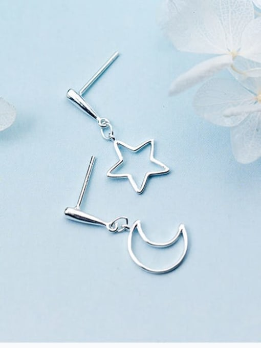 Rosh 925 Sterling Silver  Minimalist  Asymmetric Star Moon Drop Earring 2