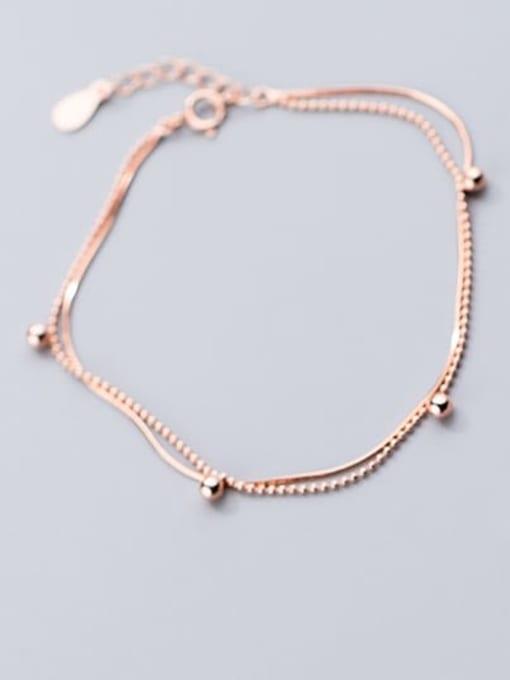 Rosh 925 Sterling Silver Round  bead Minimalist Link Bracelet 0