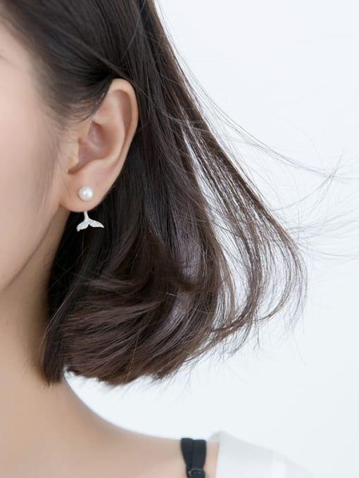 Rosh 925 Sterling Silver Imitation Pearl  Fishtail Minimalist Drop Earring 1