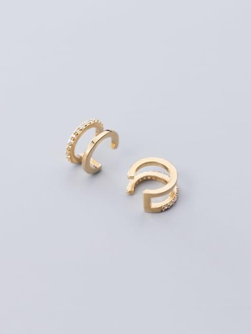 Rosh 925 Sterling Silver Rhinestone  Geometric Vintage Clip Earring 4