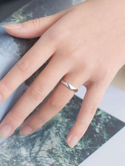 Rosh 925 Sterling Silver Smooth Geometric Minimalist Couple Ring 1