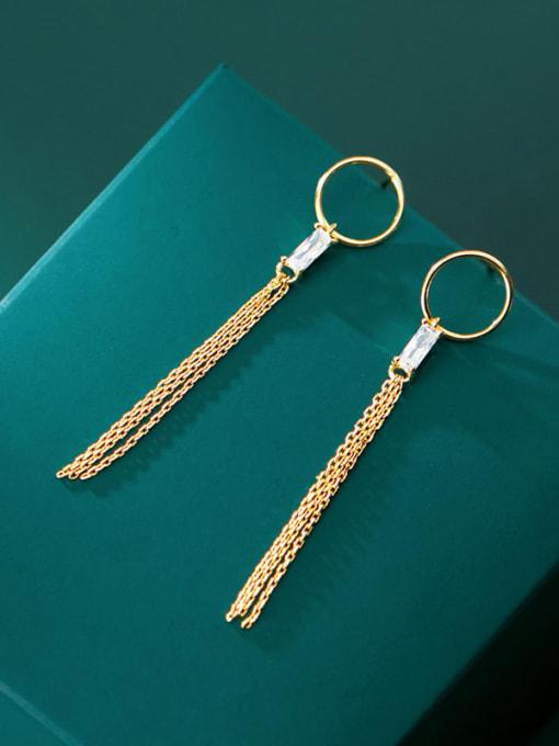 Rosh 925 Sterling Silver Rhinestone Simple ring with diamond tassel  Vintage Threader Earring