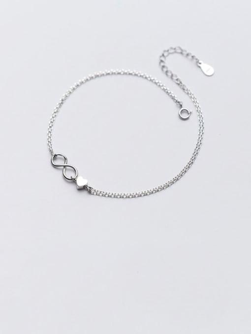 Rosh 925 Sterling Silver Minimalist Number  8   Anklet