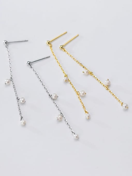 Rosh 925 Sterling Silver Imitation Pearl  Tassel Minimalist Threader Earring 1
