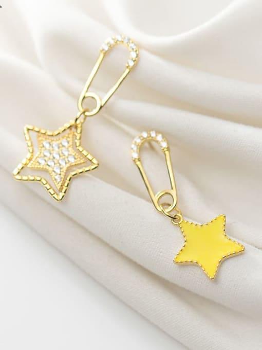 Rosh 925 Sterling Silver Rhinestone Yellow Star Trend Huggie Earring