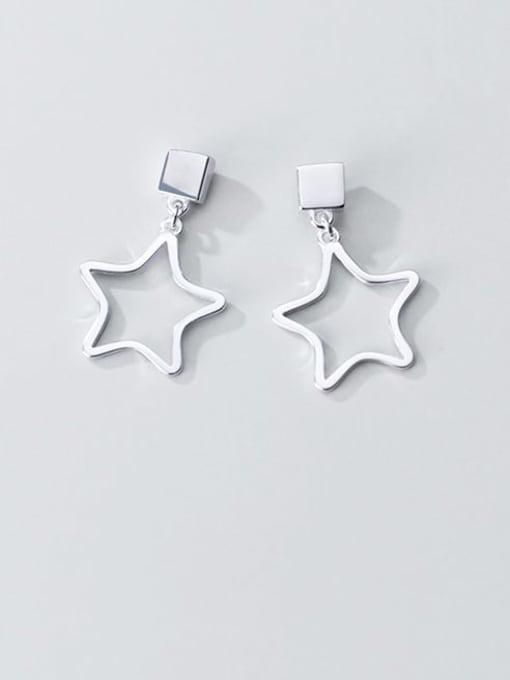Rosh 925 Sterling Silver Smooth Geometric Minimalist Drop Earring 1