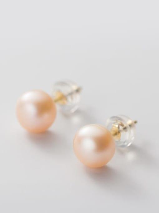 Pink Orange Pearl  Gold 7 -8mm 925 Sterling Silver Freshwater Pearl  Round Minimalist Stud Earring