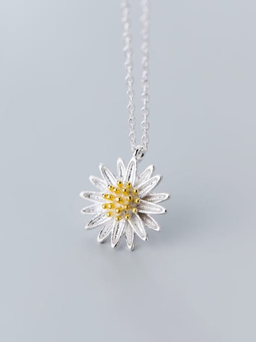 Rosh 925 Sterling Silver Simple flower pendant Necklace 1