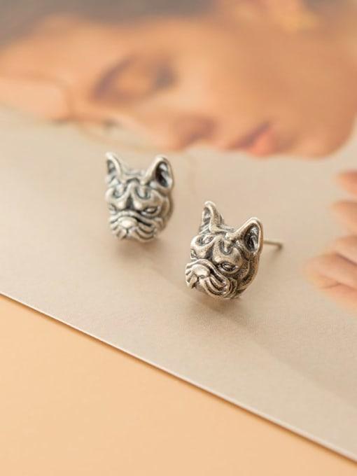 Rosh 925 Sterling Silver Lion Vintage Stud Earring 2