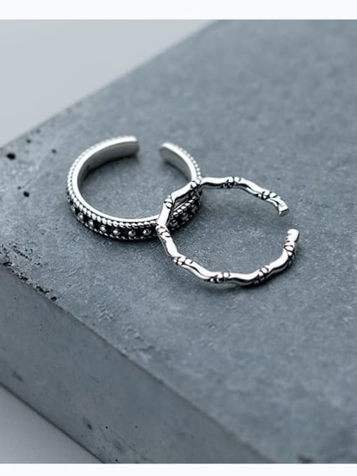 Rosh 925 Sterling Silver Vintage knot Free Size Midi Ring 2