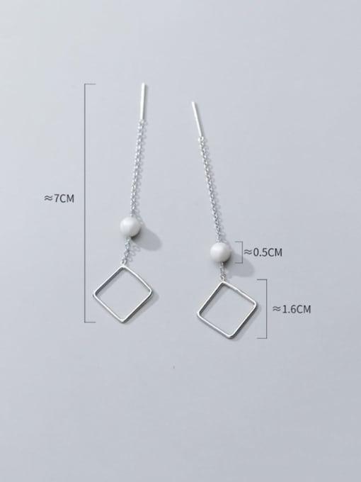 Rosh 925 sterling silver imitation pearl  geometric minimalist threader earring 4