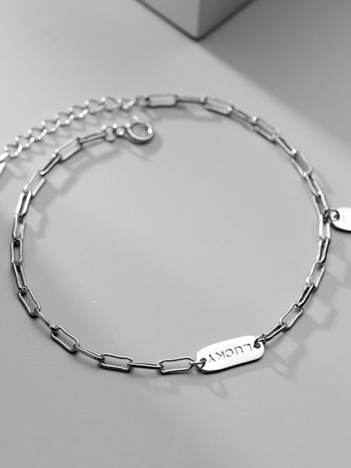 Rosh 925 Sterling Silver Simple square brand letters LUCKY chain bracelet 2