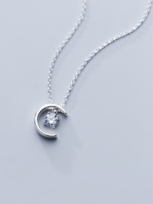Rosh 925 Sterling Silver Simple Fashion Single Diamond Moon Pendant Necklace 2