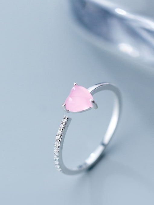 Rosh 925 Sterling Silver Crystal Pink Heart Minimalist Band Ring 1