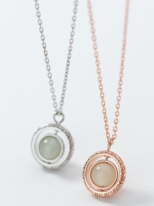 Rosh 925 Sterling Silver Simple Fashion Round Luminous Stone Pendant Necklace