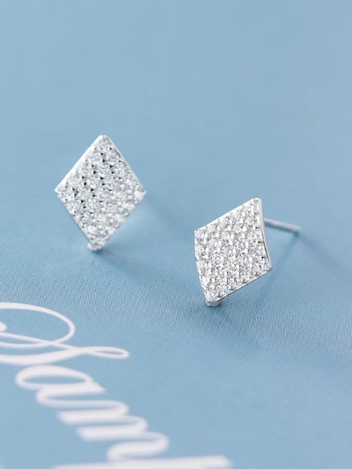 Rosh 925 Sterling Silver Full Rhinestone  Geometric Dainty Stud Earring 2