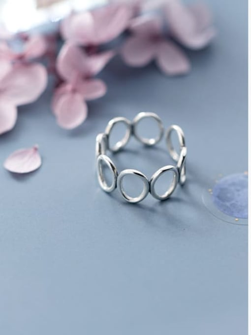 Rosh 925 Sterling Silver Hollow Round Minimalist Free Size Ring 1
