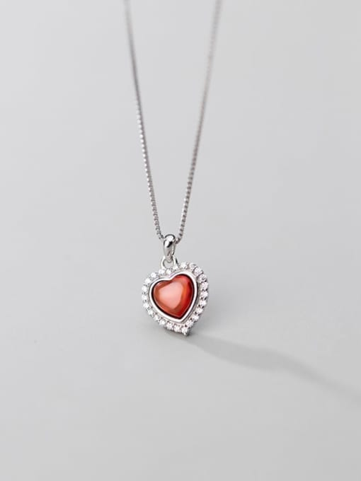 Rosh 925 Sterling Silver Synthetic Red Agate Heart Shaped Diamond Necklace 3
