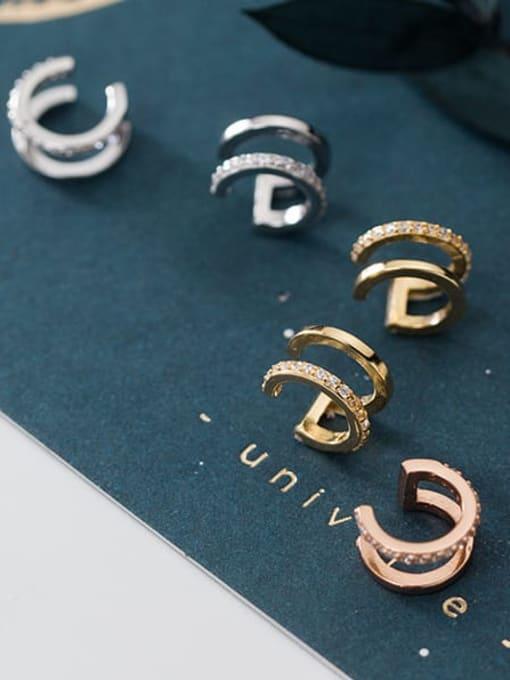 Rosh 925 Sterling Silver Rhinestone  Geometric Vintage Clip Earring