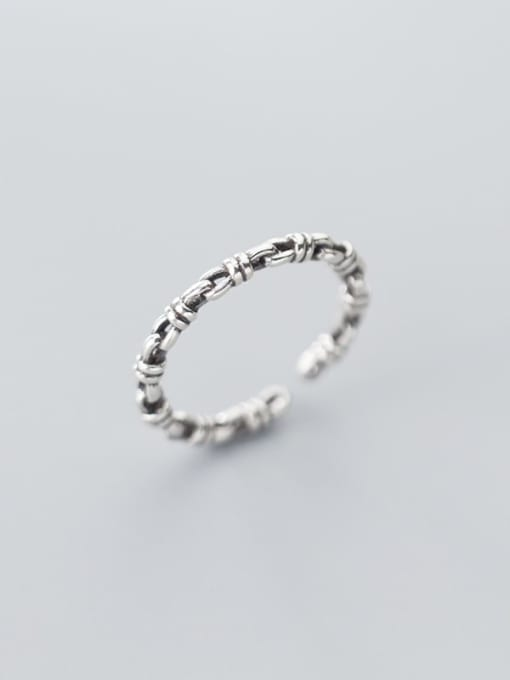 Rosh 925 Sterling Silver  Retro knot free size Ring 1