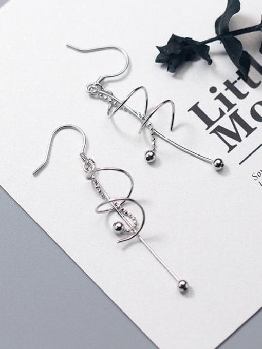 Rosh 925 Sterling Silver Tassel Minimalist Hook Earring