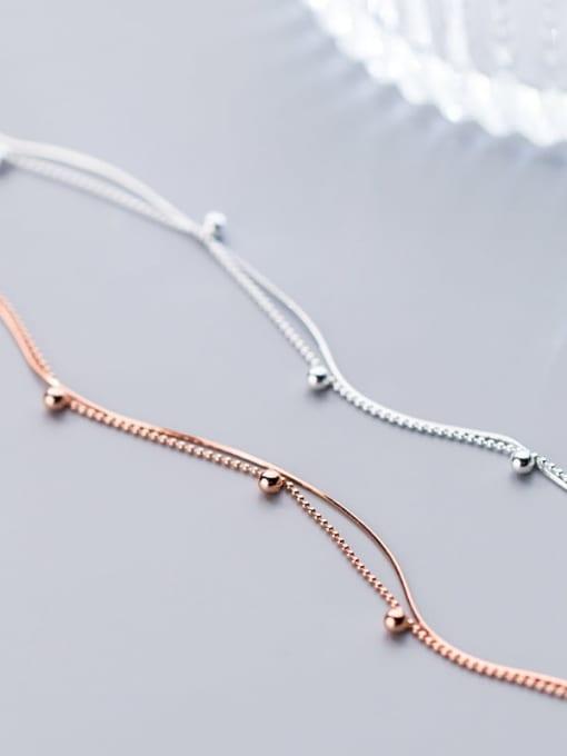 Rosh 925 Sterling Silver Round  bead Minimalist Link Bracelet 2