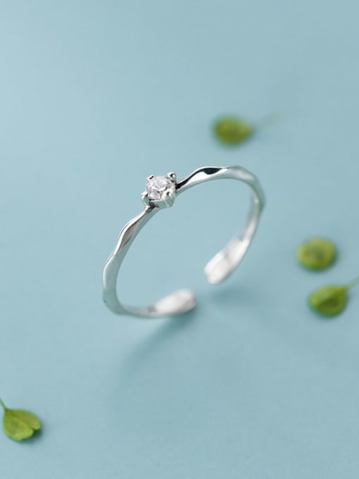 Rosh 925 Sterling Silver Cubic Zirconia  Round Minimalist  Free Size Ring 3