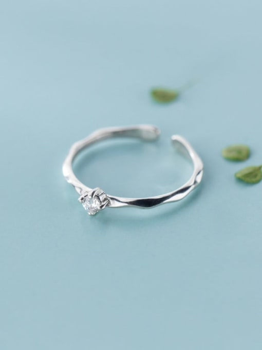 Rosh 925 Sterling Silver Cubic Zirconia  Round Minimalist  Free Size Ring 2