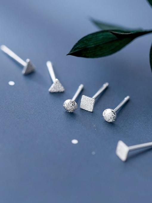 Rosh 925 Sterling Silver Smooth Geometric Minimalist Stud Earring