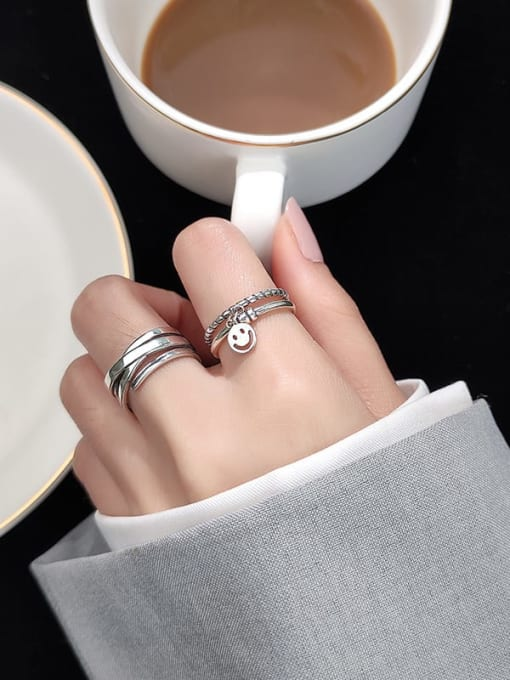 Rosh 925 Sterling Silver Vintage Double twist smile smooth  Ring 1