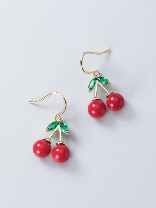 Rosh 925 Sterling Silver Red Enamel Cute Cute golden cherry Drop Earring 1