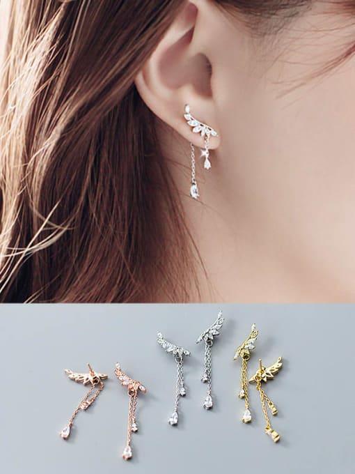 Rosh 925 Sterling Silver Cubic Zirconia Wing  Tassel Dainty Stud Earring 1