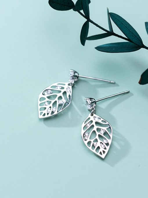Rosh 925 Sterling Silver Rhinestone Hollow Leaf Minimalist Drop Earring 1