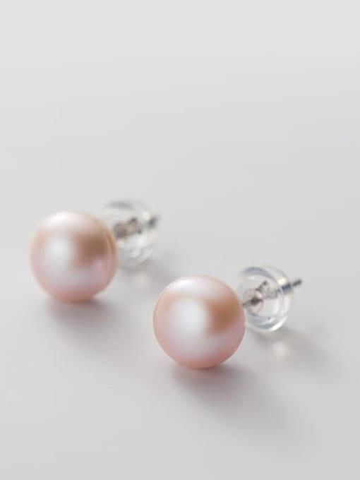 Purple Pearl Earrings Silver 8 9mm 925 Sterling Silver Freshwater Pearl  Round Minimalist Stud Earring