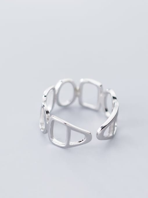 Rosh 925 Sterling Silver Hollow Geometric Minimalist Free Size Ring 3