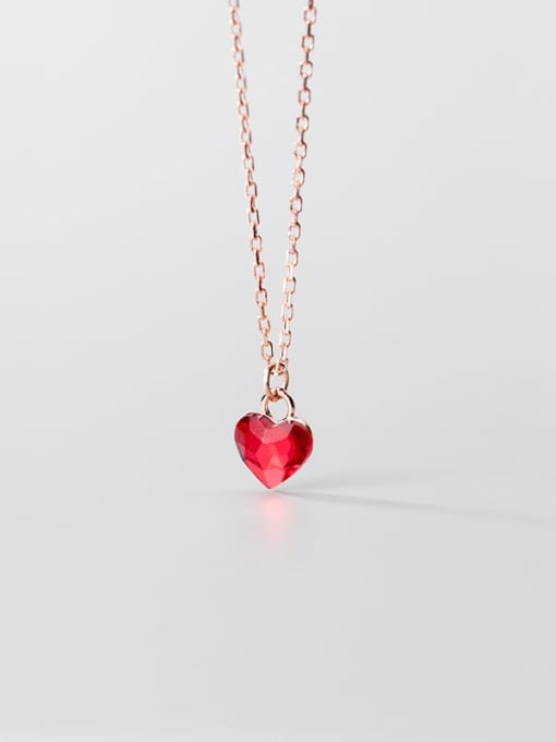 Rosh 925 Sterling Silver Red Heart Minimalist Necklace 4