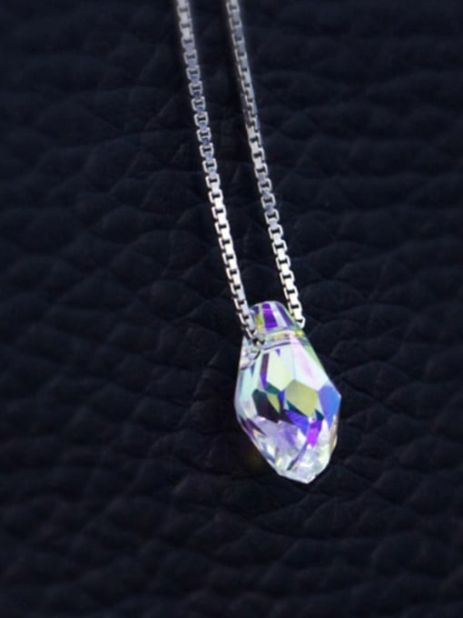 Austrian Crysta Water drops 925 Sterling Silver  Austrian crystal shiny colorful pendant Necklace